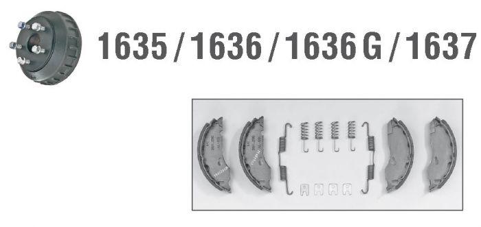 2 Mâchoires de frein avec ressorts pour essieux ALKO 1636-1637