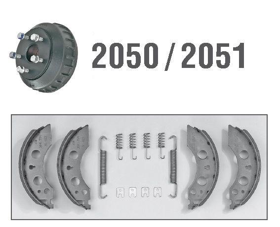 2 Mâchoires de frein avec ressorts pour essieux ALKO 2050/2051