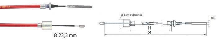 Câble de frein ALKO - Longueur 890 mm - Sans démontage