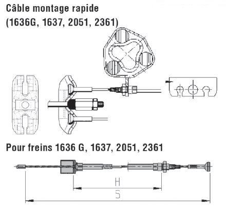 Câble de frein ALKO  1636G / 1637 / 2051 / 2361, longueur 530 mm, sans démontage