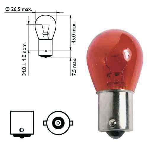 Ampoule pour feu de remorque - 12 Volts 21 watts - Coloris orange
