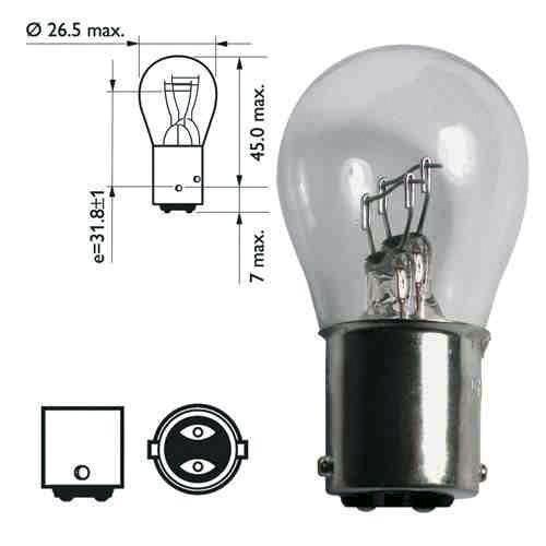 Ampoule double plots pour feu de remorque - 12 volts 21/5 watts