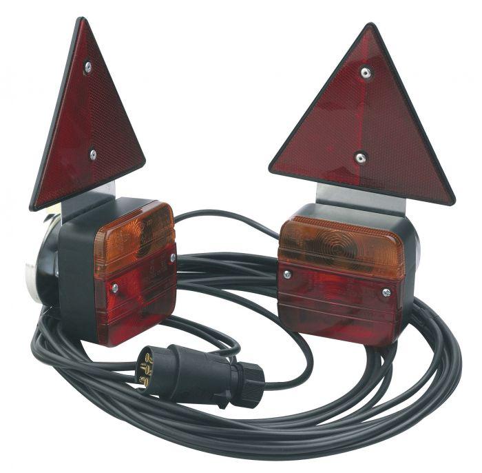 Eclairage arrière complet avec triangle - 7.5m. - Support magnétique