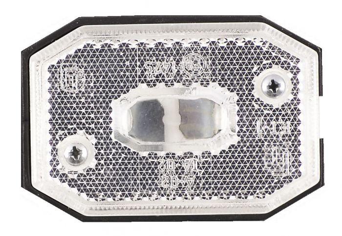 Feu de position ASPOCK led - Blanc et rectangulaire - Catadioptre intégré