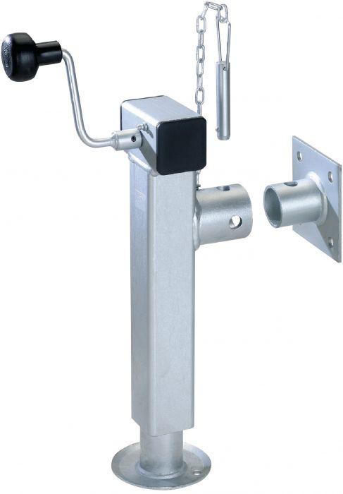 Béquille tube carré - Rabattable avec manivelle - Hauteur 280 à 500mm