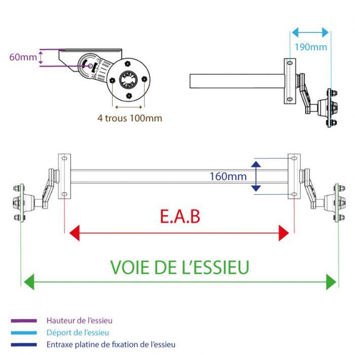 Essieu non freiné KNOTT - 750kg - 4T100 - EAB à la demande