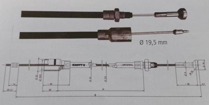 Câble de frein KNOTT - Longueur 1280mm - Douille 18.5 mm