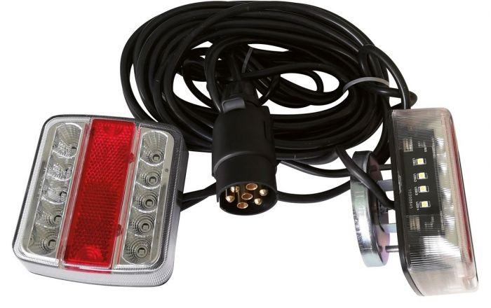 Eclairage arrière complet à Led pour remorque - 7.5 m - Support magnétique