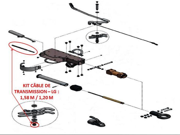 Câble de transmission - Tête KNOTT AHV25 / AHV35 - Lg : 1.58 m / 1.20 m