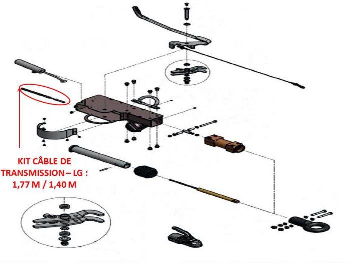 Câble de transmission - Tête KNOTT AHV25 / AHV35 - Lg : 1.77 m / 1.40 m