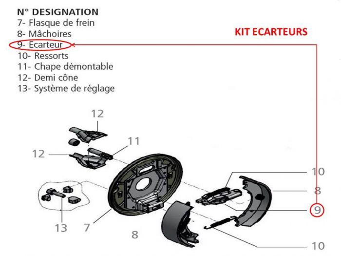 Kit écarteur pour essieux KNOTT type F200 / 200x50 / 20-2425 / F200ET0 / 200x50 / 20-2425/10