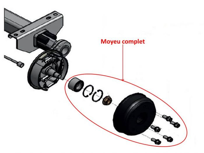 Moyeu complet 4 trous 100 mm KNOTT F200 / 200x50 / 20-2425