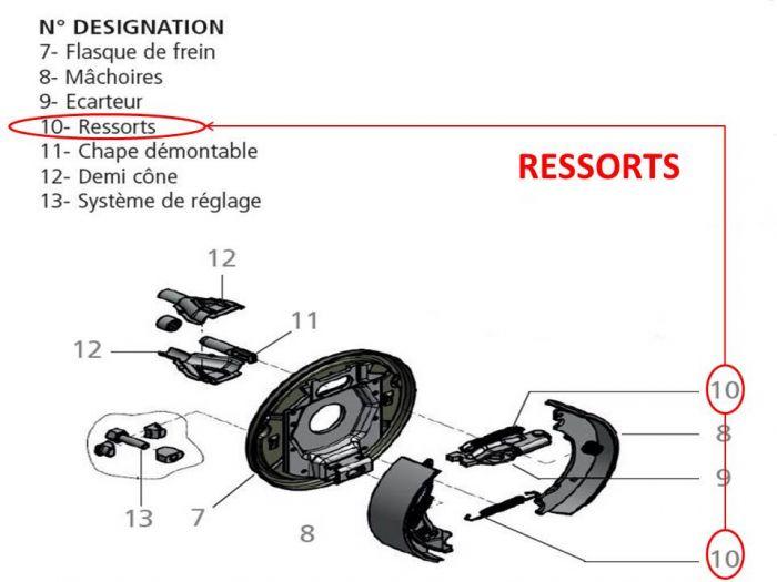 ressorts pour mâchoire de frein KNOTT Type F160 - 160x35 - 16-1365 perçage 4 trous 100