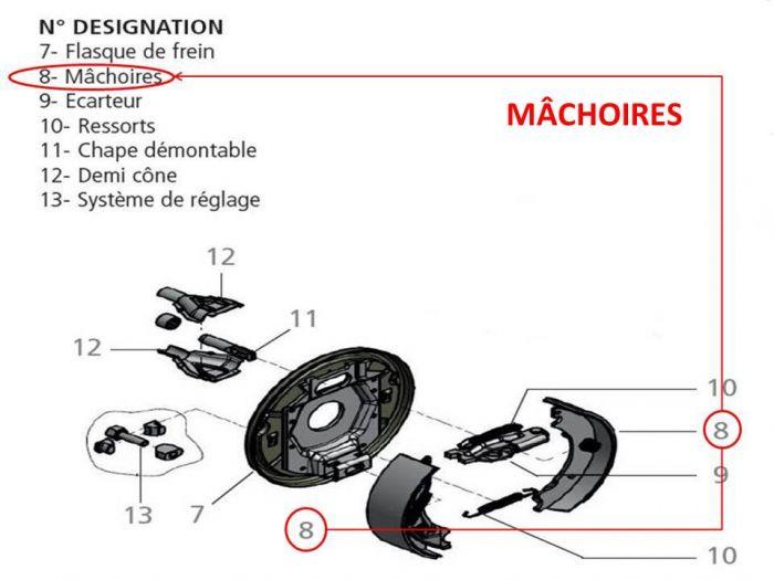 Mâchoire de frein pour essieux KNOTT type F200 / 200X50 / 20-2425 / F200ET0 / 200X50 / 20-2425/10
