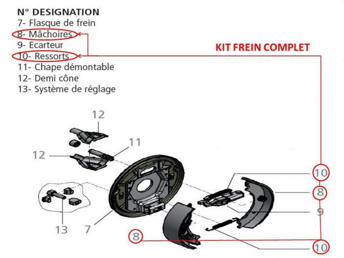 Kite frein complet pour essieux KNOTT type F200 / 200X50 / 20-2425 / F200ET0 / 200X50 / 20-2425/10